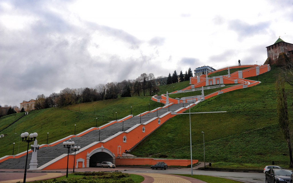 Die Tschkalow-Treppe in Nischnij Nowgorod